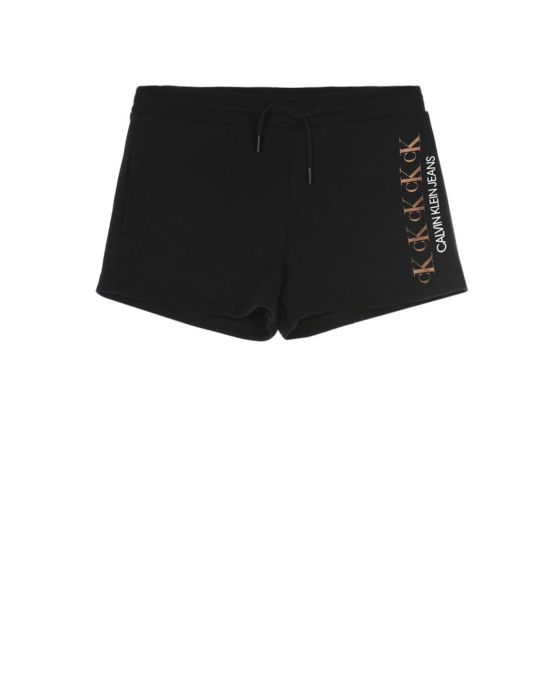 Купить Трикотажные шорты с вертикальным логотипом Calvin Klein детские, Черный, 100%хлопок, 98%хлопок+2%эластан