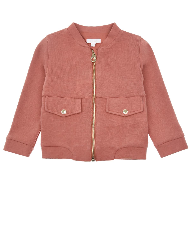 Купить Куртка-бомбер терракотового цвета Chloe детская, Нет цвета, 67%полиэстер+27%вискоза+6%эластан, 100%хлопок