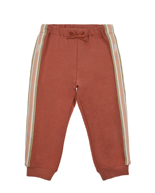 Купить Спортивные брюки терракотового цвета Chloe детские, Нет цвета, 67%полиэстер+27%вискоза+6%эластан, 100%хлопок