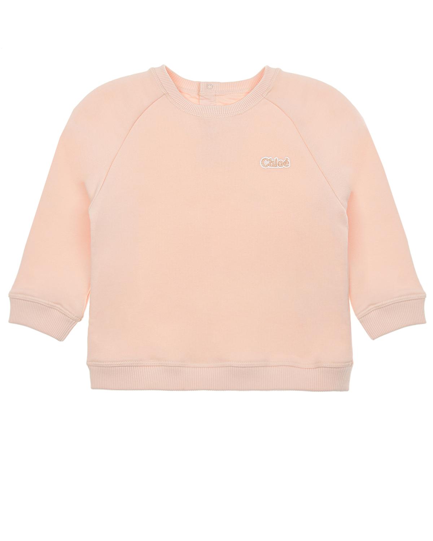 Купить Розовый свитшот с логотипом Chloe детский, Нет цвета, 100% хлопок, 99% хлопок+1% эластан, 88% хлопок+12% полиэстер