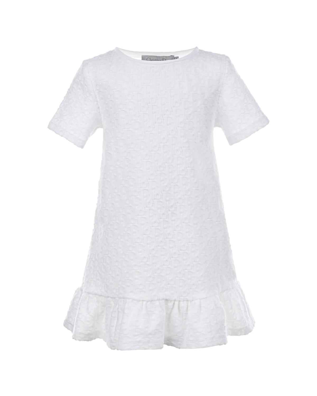Купить Белое платье с рюшами Dior детское, Белый, 100%хлопок