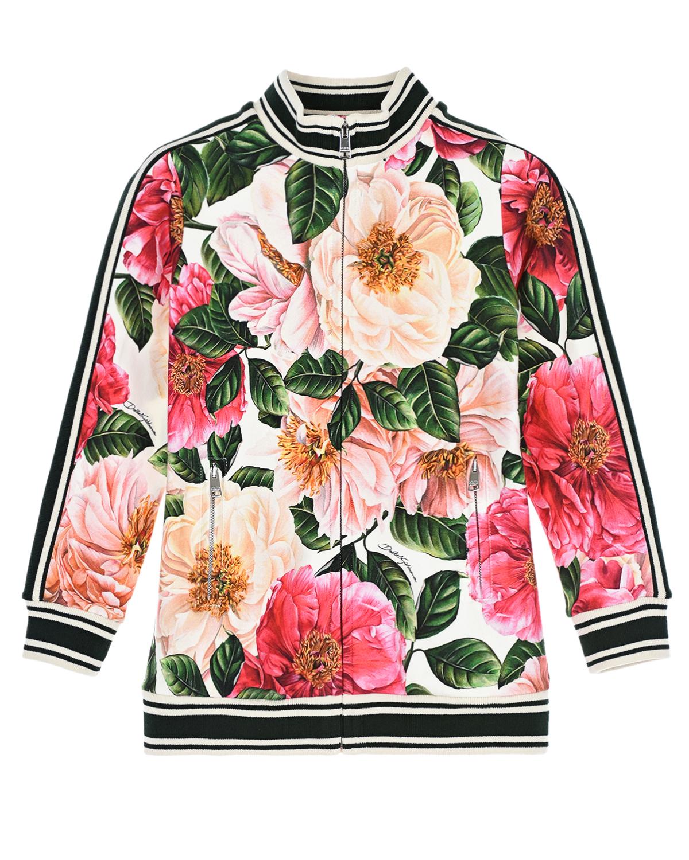 Купить Спортивная куртка с принтом камелии Dolce&Gabbana детская, Мультиколор, 90%хлопок+10%эластан, 96%хлопок+4%эластан