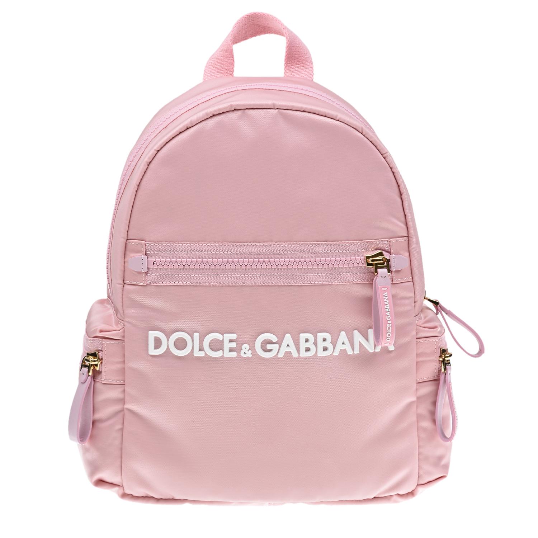 Розовый рюкзак с логотипом, 34x30x11 см Dolce&Gabbana детский, 81%полиамид+9%полиакрил+5%полиуретан+3%хлопок+2%полиэстер, 100%полиамид  - купить со скидкой