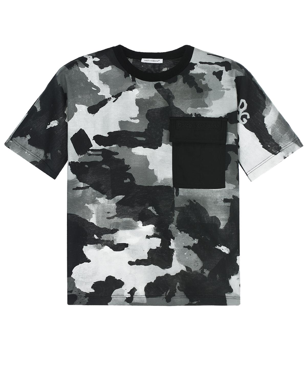 Купить Камуфляжная футболка с накладным карманом Dolce&Gabbana детская, Мультиколор, 100%хлопок, 96%хлопок+4%эластан, 100%полиамид, 40%вискоза+30%хлопок+30%полиуретан