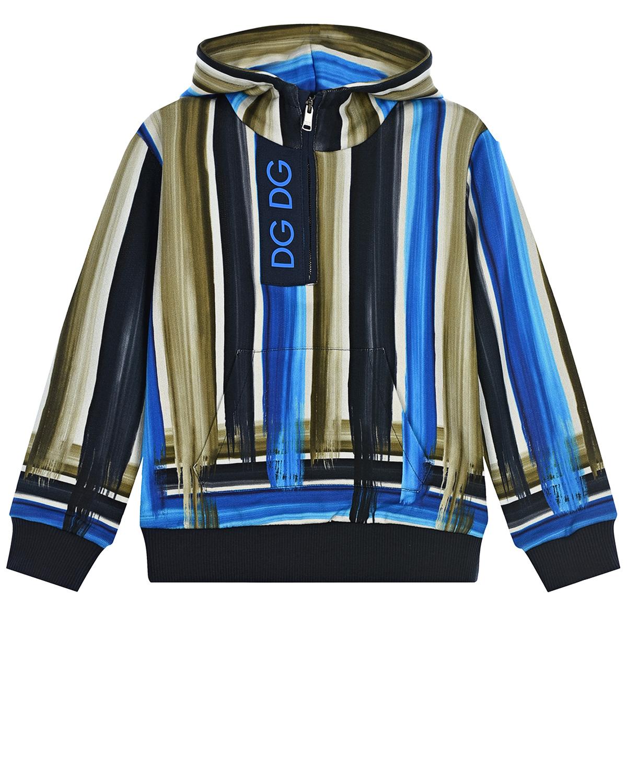 Купить Толстовка-худи в полоску Dolce&Gabbana детская, Мультиколор, 100%хлопок. 95%хлопок+5%эластан, 50%полиэстер+50%полиуретан, 100%хлопок