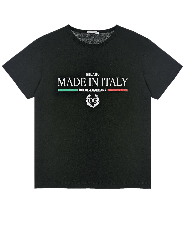 Купить Черная футболка с принтом Made in Italy Dolce&Gabbana детская, Черный, 100%хлопок