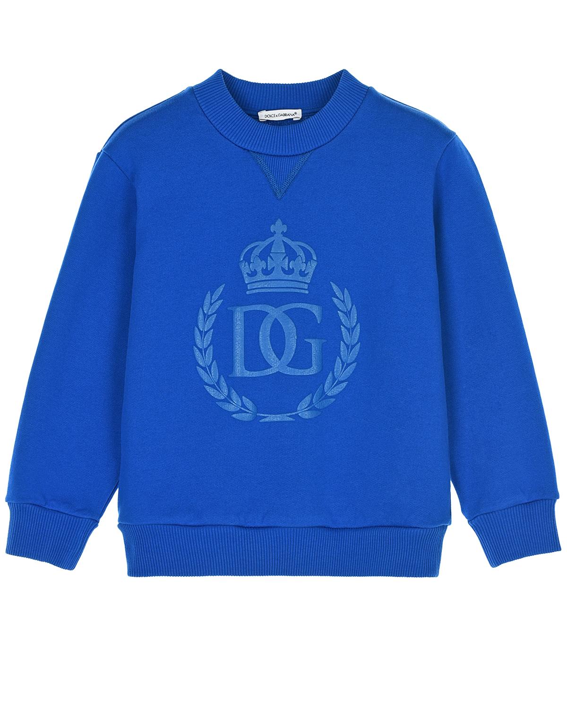 Купить Синий свитшот с принтом в тон Dolce&Gabbana детский, Нет цвета, 100%хлопок, 95%хлопок+5%эластан