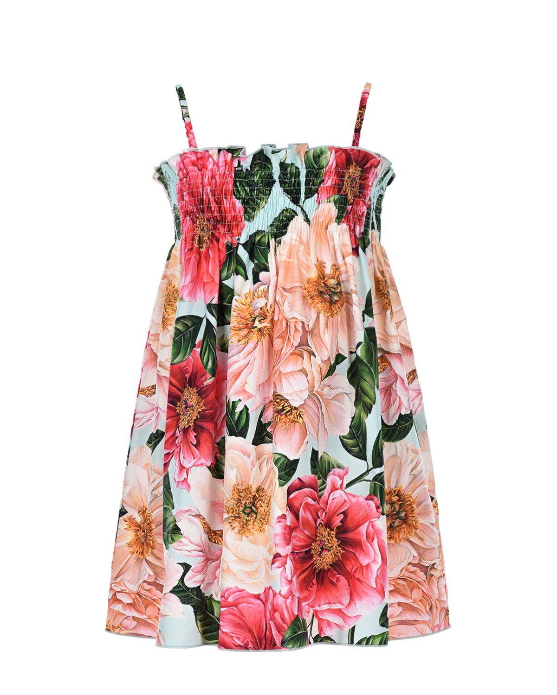 Купить Сарафан из поплина с цветочным принтом Dolce&Gabbana детский, Мультиколор, 100%хлопок