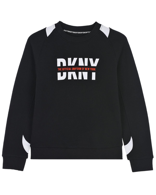 Купить Черный свитшот с контрастными вставками DKNY детский, 100%хлопок, 95%хлопок+5%эластан
