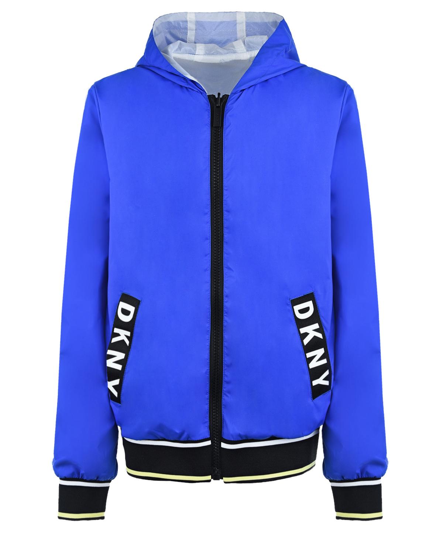 Купить Двухсторонняя ветровка с капюшоном DKNY детская, Синий, 100%полиэстер, 100%полиамид, 98%полиэстер+2%эластан