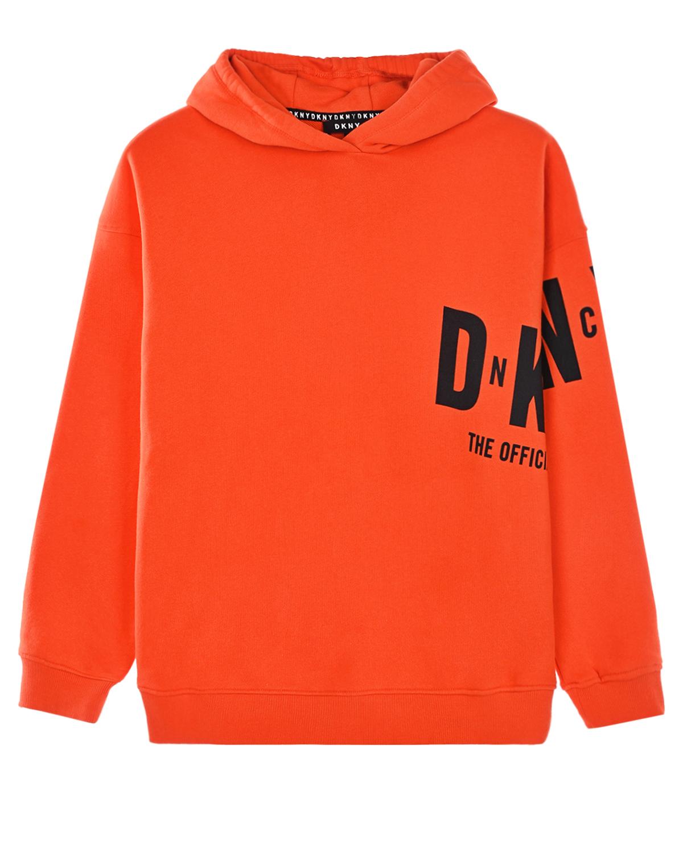 Купить Красная толстовка-худи с логотипом DKNY детская, Красный, 100%хлопок, 97%хлопок+3%эластан