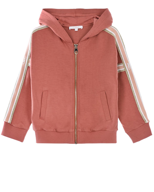 Купить Спортивная куртка терракотового цвета Chloe детская, Нет цвета, 67%полиэстер+27%вискоза+6%эластан, 98%хлопок+2%эластан, 100%хлопок