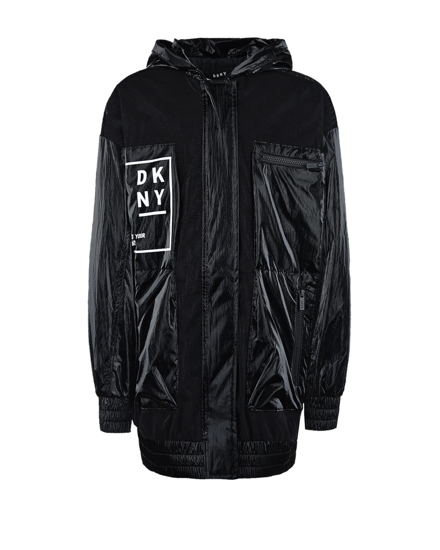 Купить Черная ветровка с белым логотипом DKNY детская, Черный, 100%полиэстер, 100%полиамид, 93%полиэстер+7%эластан