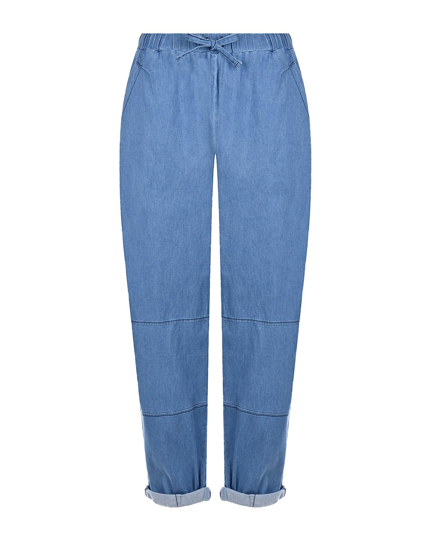 Синие джинсы с поясом на кулиске Deha, Синий, 98%хлопок+2%эластан, 100%хлопок  - купить со скидкой