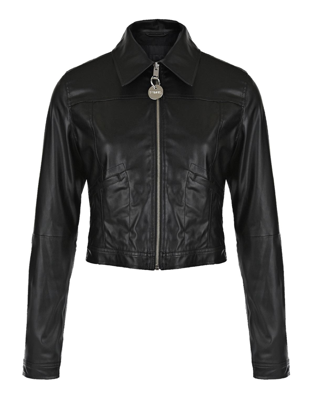 Купить Черная куртка из эко-кожи Diesel детская, Черный, 100%полиуретан, 100%вискоза, 100%всикоза