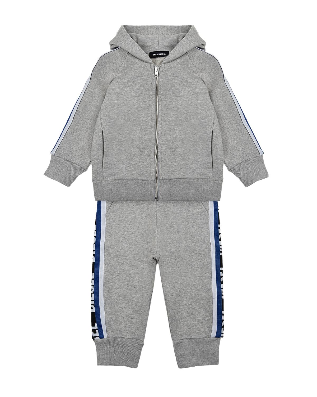 Купить Спортивный костюм с синими лампасами Diesel детский, Серый, 100% хлопок, 70% нейлон+30% полиэстер