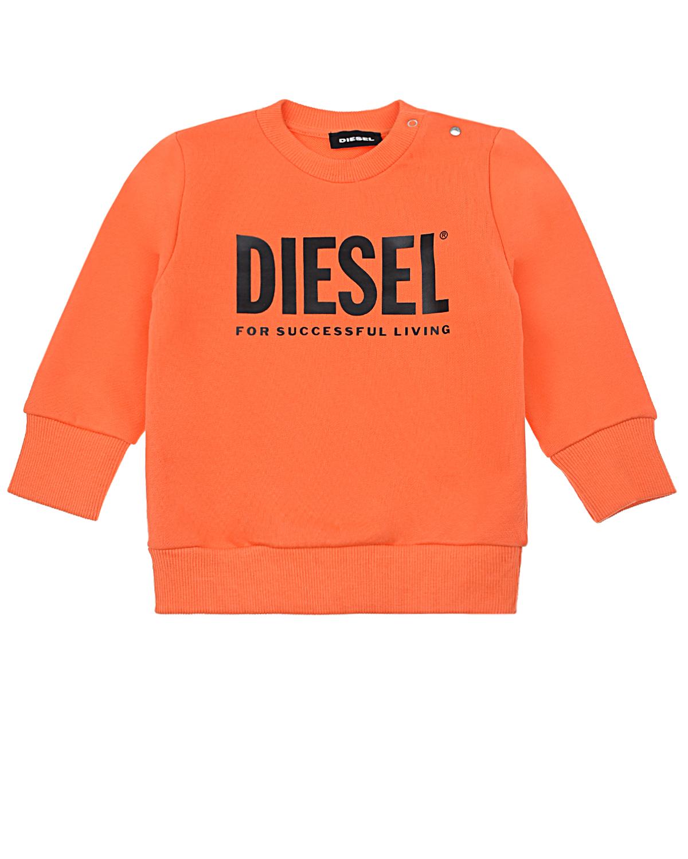 Купить Оранжевый свитшот с логотипом Diesel детский, 100%хлопок. 96%хлопок+4%эластан