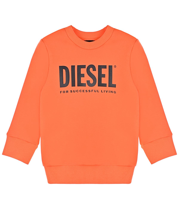 Купить Оранжевый свитшот с черным логотипом Diesel детский, 100% хлопок, 95% хлопок+5% эластан