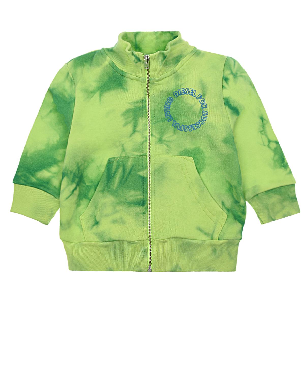 Купить Зеленая спортивная куртка логотипом Diesel детская, Салатовый, 100%хлопок