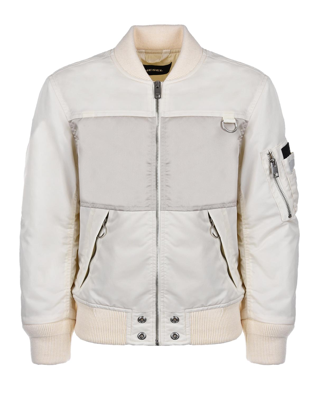 Купить Куртка-бомбер бежевого цвета Diesel детская, Кремовый, 100%полиамид. 63%акрил+28%шерсть+7%полиэстер+2%эластан, 100%нейлон, 100%полиэстер