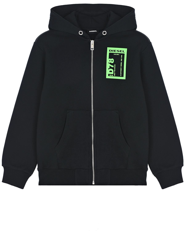 Купить Черная спортивная куртка с принтом D78 Diesel детская, Черный, 100% хлопок, 96% хлопок+4% эластан