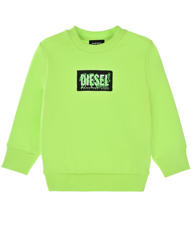 Купить Салатовый свитшот с логотипом Diesel детский, 100% хлопок, 96% хлопок+4% эластан