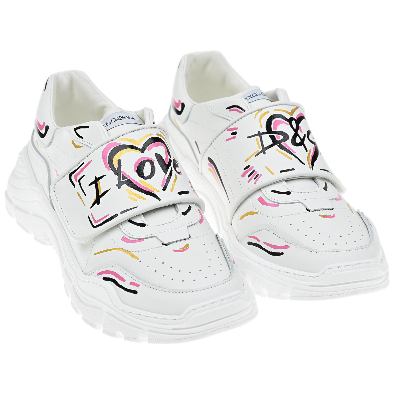 Купить Белые кроссовки на липучке Dolce&Gabbana детские, Белый, верх:100% кожа, подкладка и стелька:100% кожа, подошва:100% резина