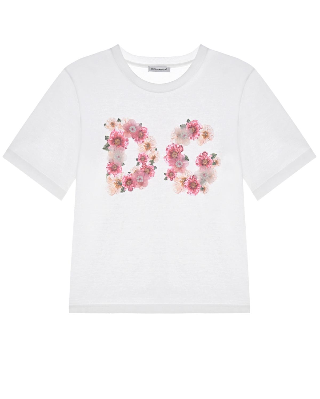 Купить Белая футболка с цветочным логотипом Dolce&Gabbana детская, Белый, 100%хлопок, 95%шелк+2%хлопок+1%метал. полиэстер+2%кристалл+