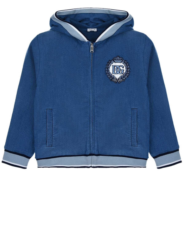 Купить Синяя спортивная куртка Dolce&Gabbana детская, Синий, 87%хлопок+11%полиэстер+2%эластан. 96%хлопок+4%эластан, 65%полиэстер+35%вискоза, 87%хлопок+11%полиэстер+2%эластан
