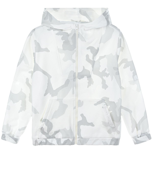 Купить Белая спортивная куртка с камуфляжным принтом Dolce&Gabbana детская, Белый, 100%хлопок, 40%вискоза+30%хлопок+30%полиуретан