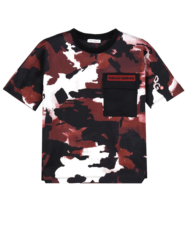Купить Бордовая камуфляжная футболка Dolce&Gabbana детская, Мультиколор, 100%хлопок, 96%хлопок+4%эластан, 100%полиамид, 40%вискоза+30%хлопок+30%полиуретан