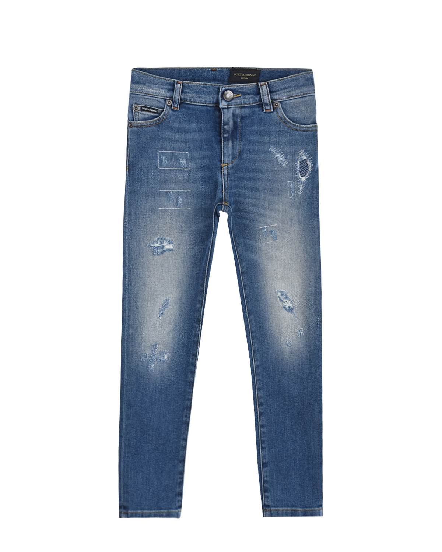 Купить Голубые джинсы с разрезами Dolce&Gabbana детские, Голубой, 98%хлопок+2%эластан, 100%кожа
