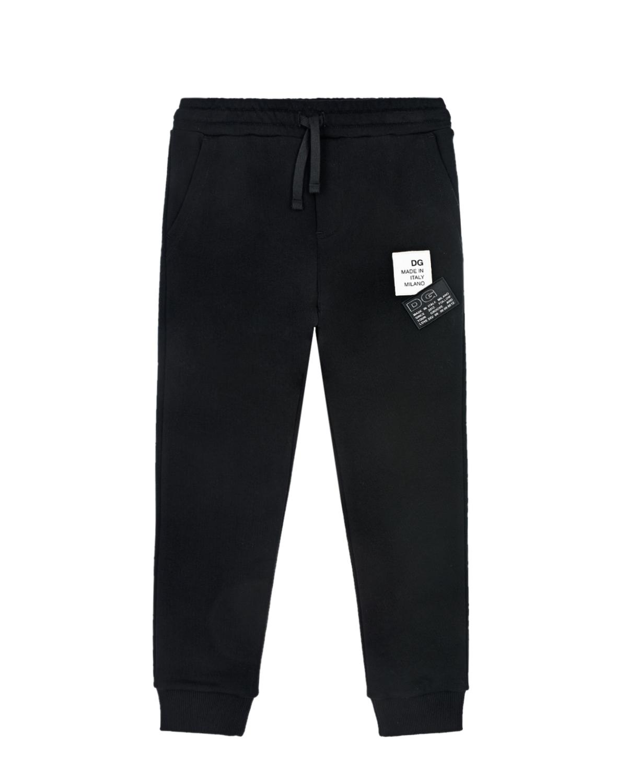 Купить Черные спортивные брюки с патчами Dolce&Gabbana детские, Черный, 100%хлопок, 98%хлопок+2%эластан, 65%хлопок+14%полиэстер+12%вискоза+9%полиуретан
