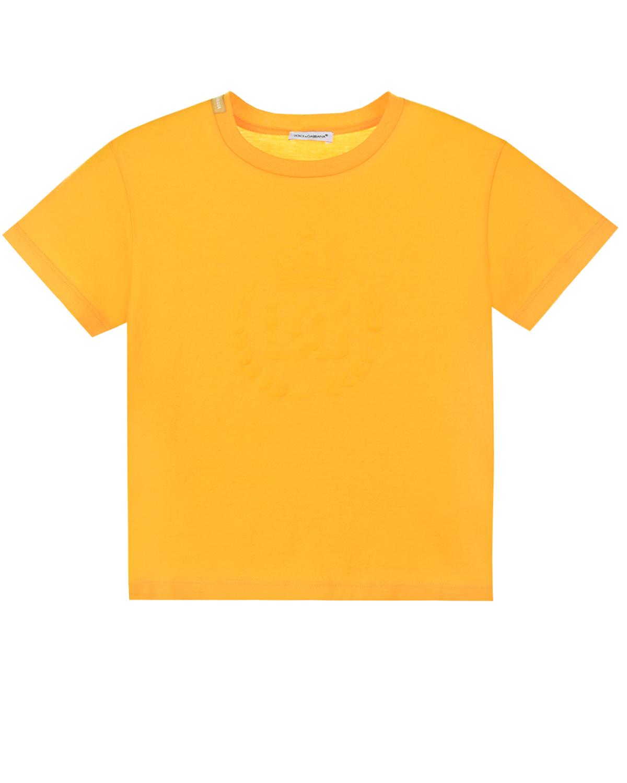 Купить Желтая футболка с логотипом в тон Dolce&Gabbana детская, Желтый, 100%хлопок