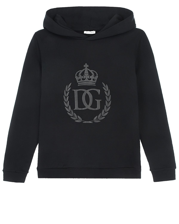 Купить Черная толстовка-худи Dolce&Gabbana детская, Черный, 100%хлопок, 95%хлопок+5%эластан