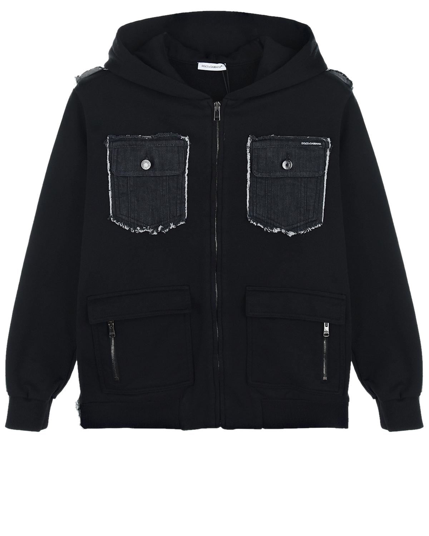 Купить Черная спортивная куртка с карманами из денима Dolce&Gabbana детская, Черный, 99%хлопок+1%эластан, 100%хлопок, 95%хлопок+5%эластан