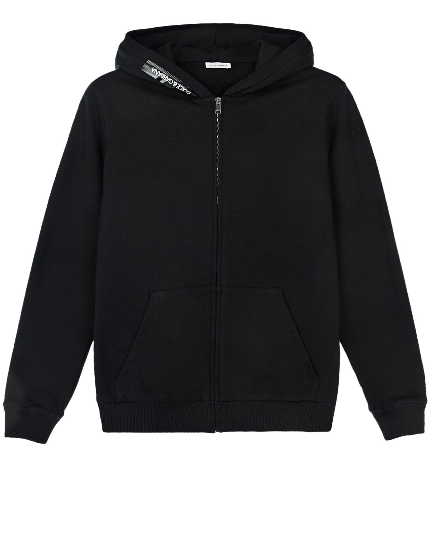 Купить Черная спортивная куртка с отдлекой лентой Dolce&Gabbana детская, Черный, 100%хлопок, 95%хлопок+5%эластан, 100%полиуретан