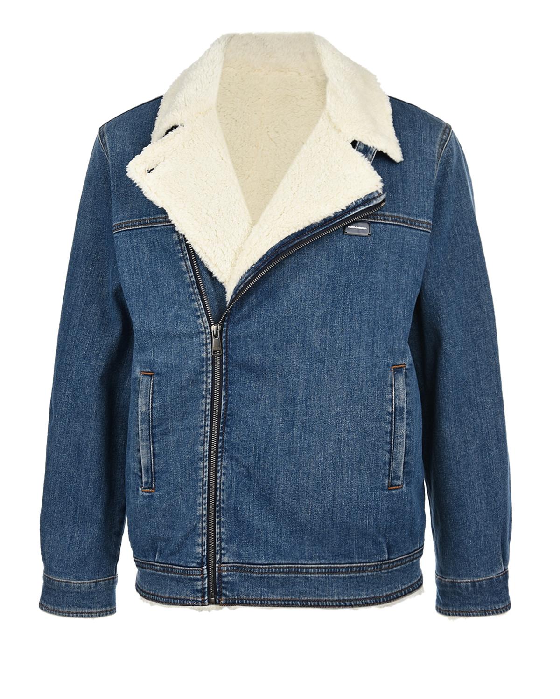 Купить Синяя джинсовая куртка-косуха Dolce&Gabbana детская, Синий, 98%хлопок+2%эластан, 70%полиэстер+30%вискоза, 100%полиэстер