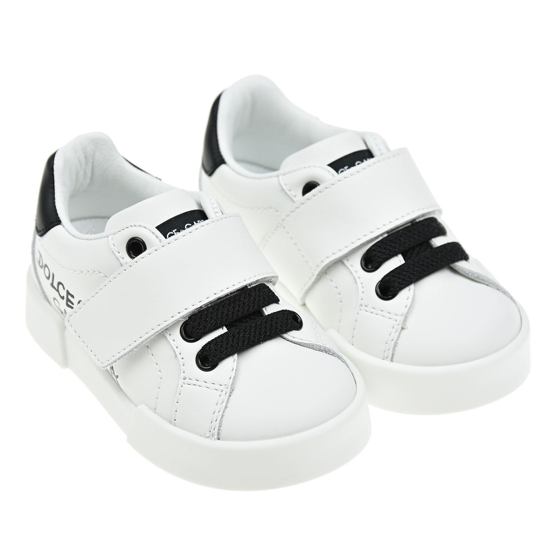 Купить Белые кеды с черными шнурками и липучкой Dolce&Gabbana детские, Белый, Верх:100% кожа, Подкладка:95% кожа+5% район, Стелька:%3, Подошва:100% резина