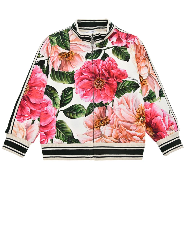 Купить Спортивная куртка с цветочным принтом Dolce&Gabbana детская, Мультиколор, 90%хлопок+10%эластан, 96%хлопок+4%эластан