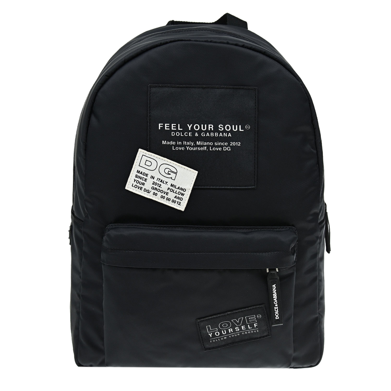 Купить Черный рюкзак с патчами, 30x40x10 см Dolce&Gabbana детский, 84%полиамид+5%хлопок+3%полиэстер+8%полиуретан