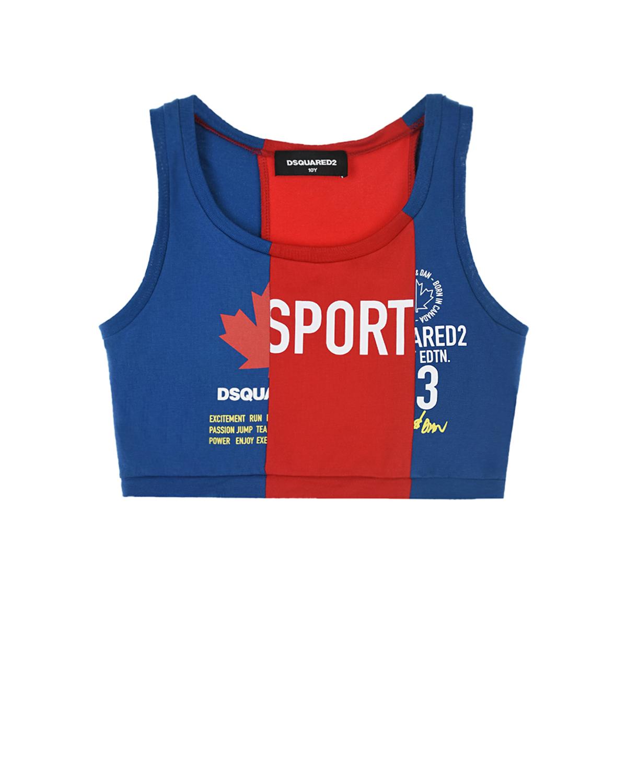 Купить Синий спортивный топ Dsquared2 детский, Мультиколор, 90%хлопок+10%эластан, 100%хлопок