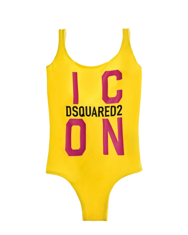 Купить Желтый купальник с принтом icon Dsquared2 детский, 80%нейлон+20%эластан, 100%нейлон