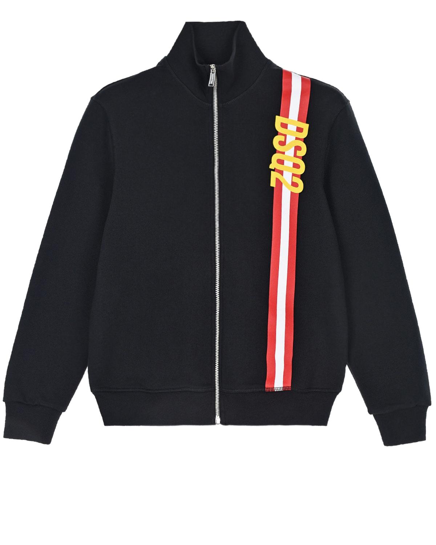 Купить Черная спортивная куртка с отделкой в полоску Dsquared2 детская, Черный, 100%хлопок, 98%хлопок+2%эластан