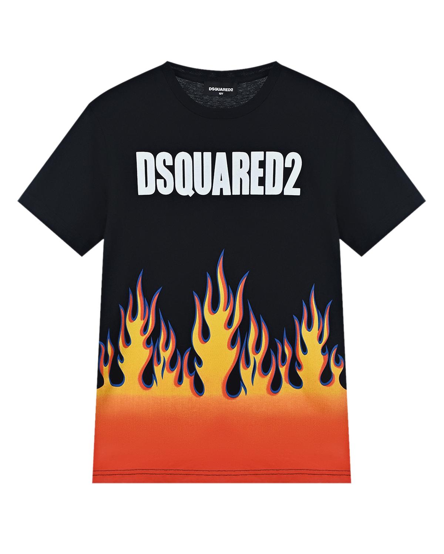 Купить Черная футболка с принтом Языки пламени Dsquared2 детская, Черный, 100%хлопок