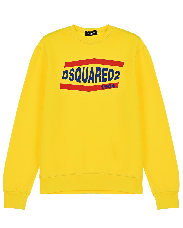 Купить Желтый свитшот с логотипом Dsquared2 детский, 100%хлопок, 95%хлопок+5%эластан