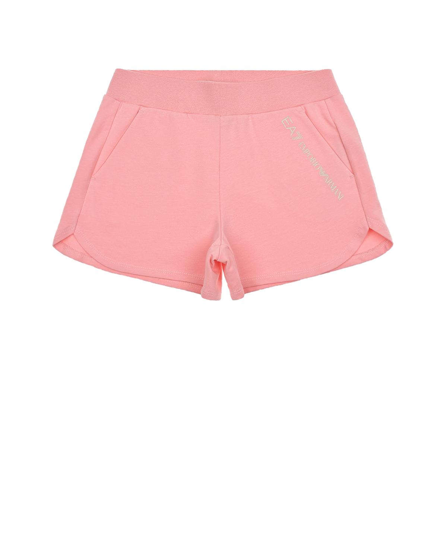 Купить Розовые шорты с логотипом Emporio Armani детские, Розовый, 95%хлопок+5%эластан, 96%хлопок+4%эластан