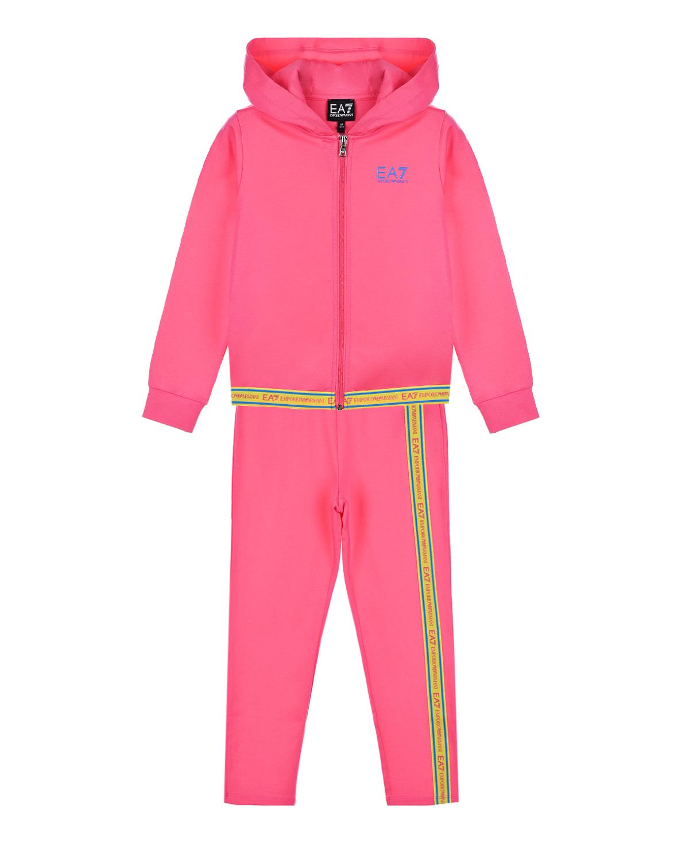 Купить Спортивный костюм цвета фуксии Emporio Armani детский, Нет цвета, 96%хлопок+4%эластан, 100%хлопок, 60%полиамид+33%полиэстер+7%эластан