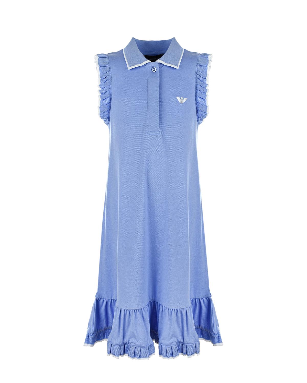 Купить Сиреневое платье с воротником-поло Emporio Armani детское, Сиреневый, 96%вискоза+4%эластан, 87%вискоза+9%полиэстер+4%эластан