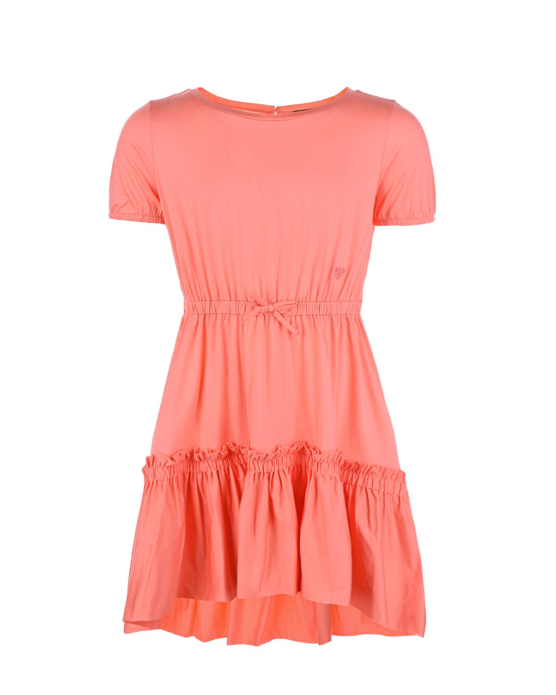 Платье кораллового цвета Emporio Armani детское, Нет цвета, 92%хлопок+8%эластан  - купить со скидкой